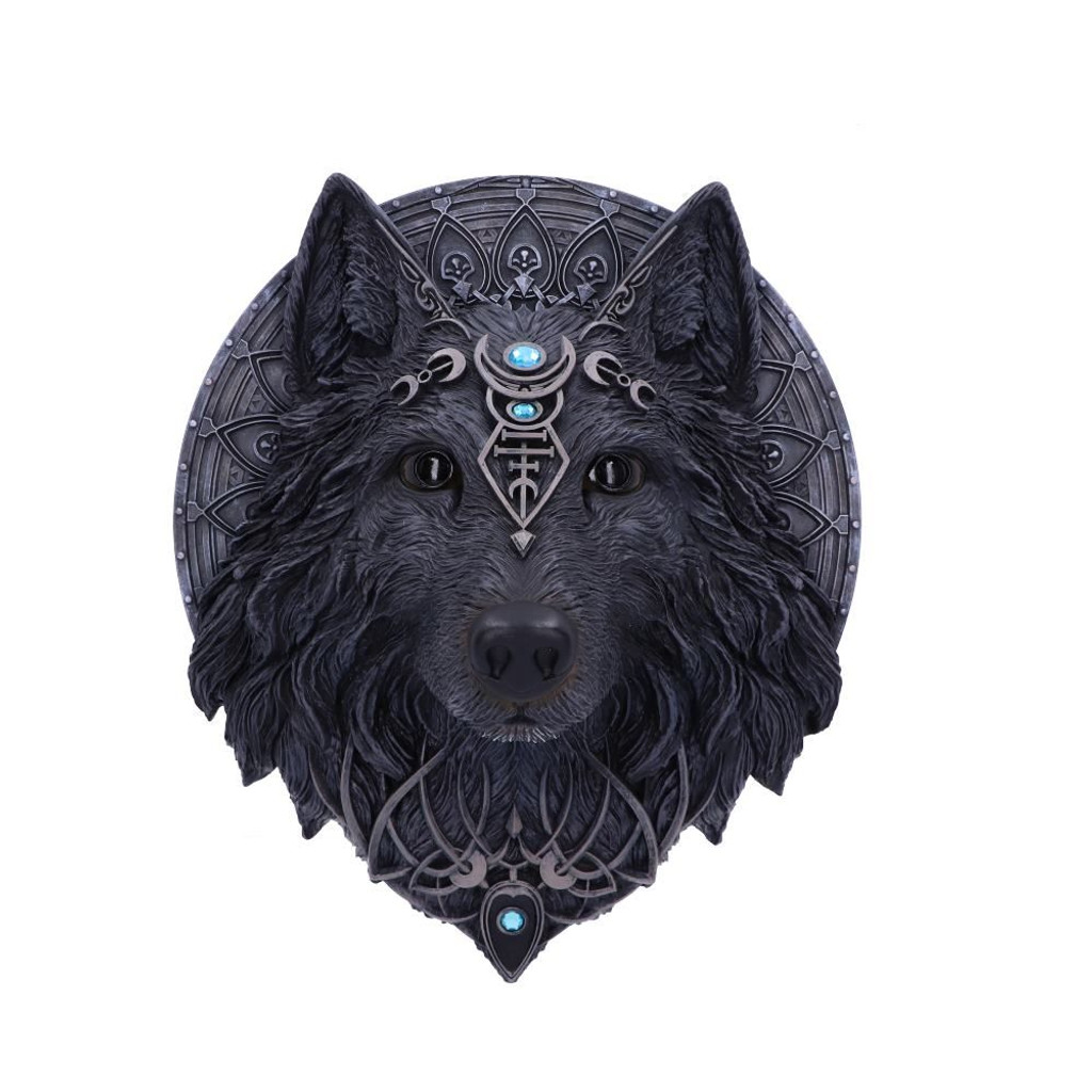 Dark Gothic Magical Wolf Moon Wall Hanging Plaque