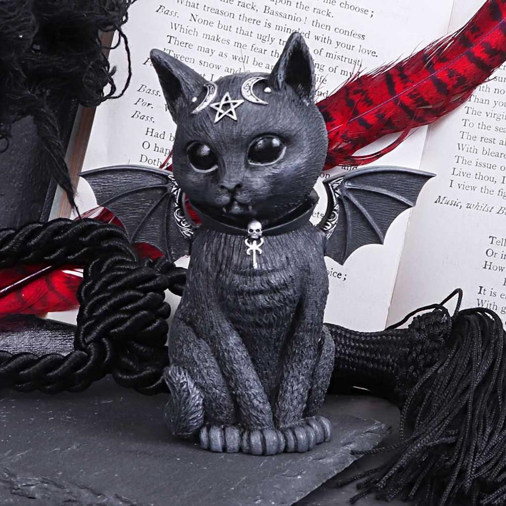 Small Malpuss Winged Black Cat Figurine