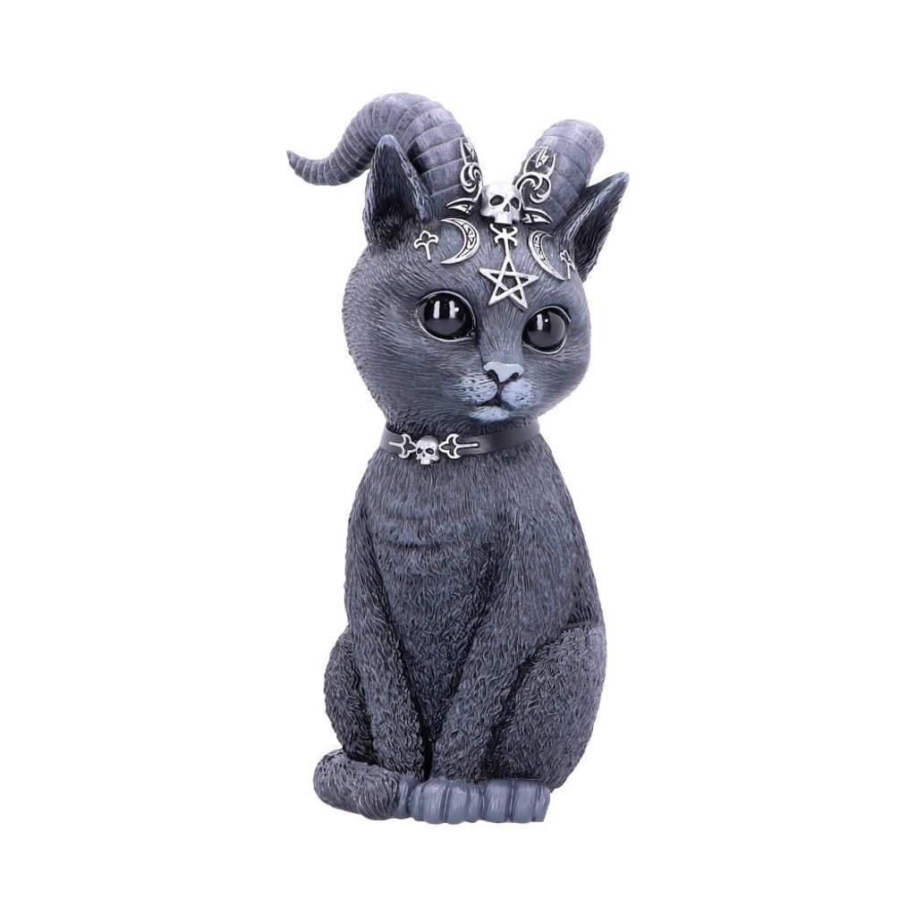 Large Pawzuph Horned Black Cat Figurine