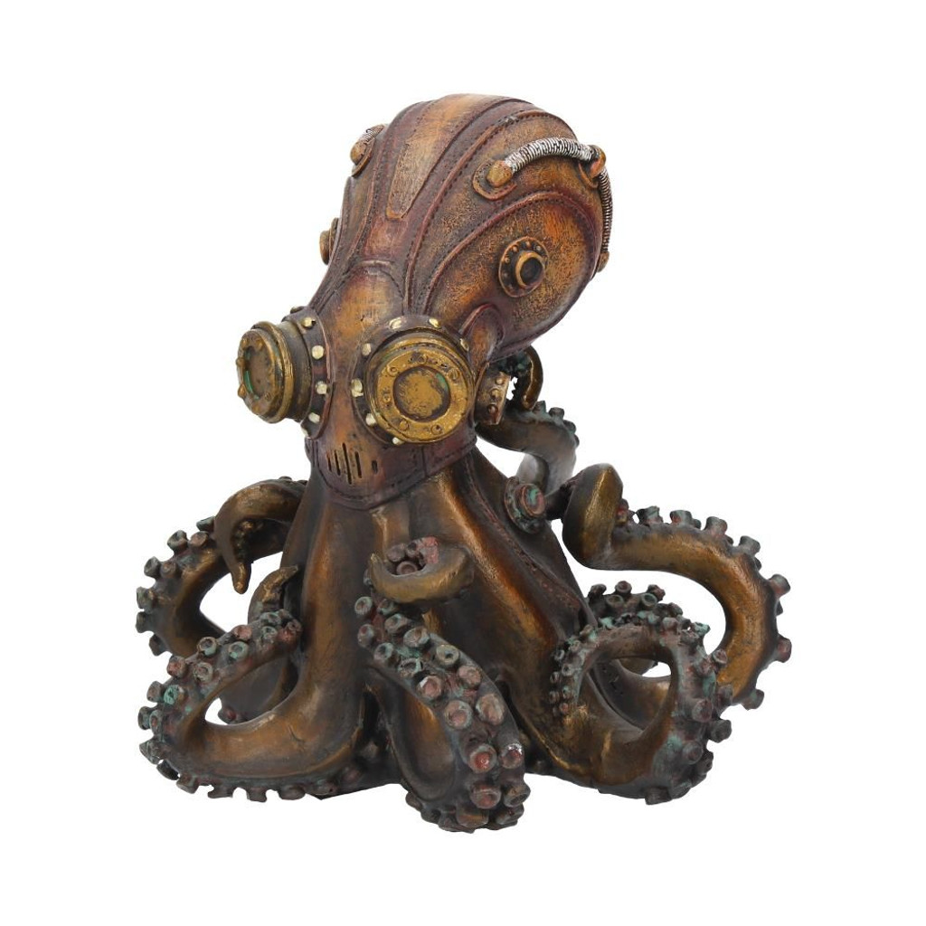 Bronze Effect Steam Punk Octo-Steam Octopus Squid Figurine with Gauges, Pipes and Gears