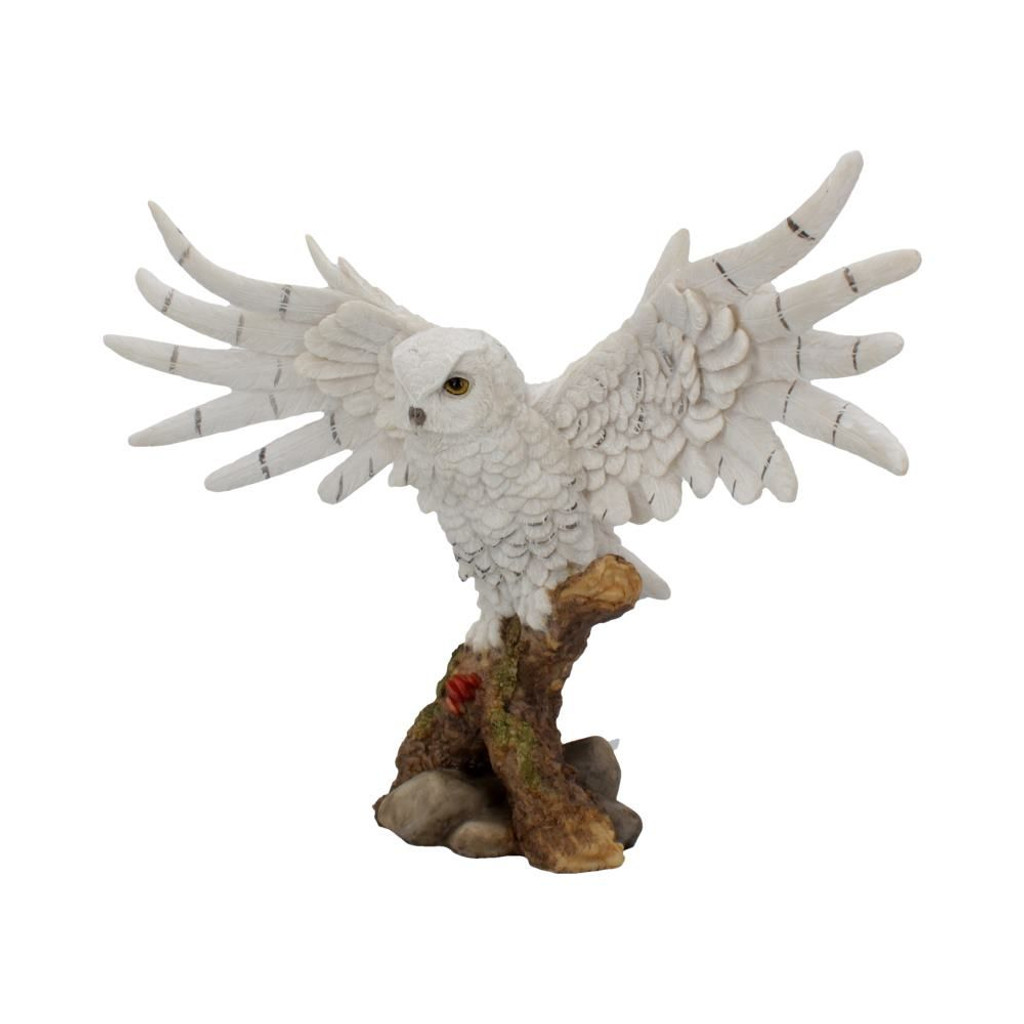 Snowy White Owl Perched on a Wooden Branch