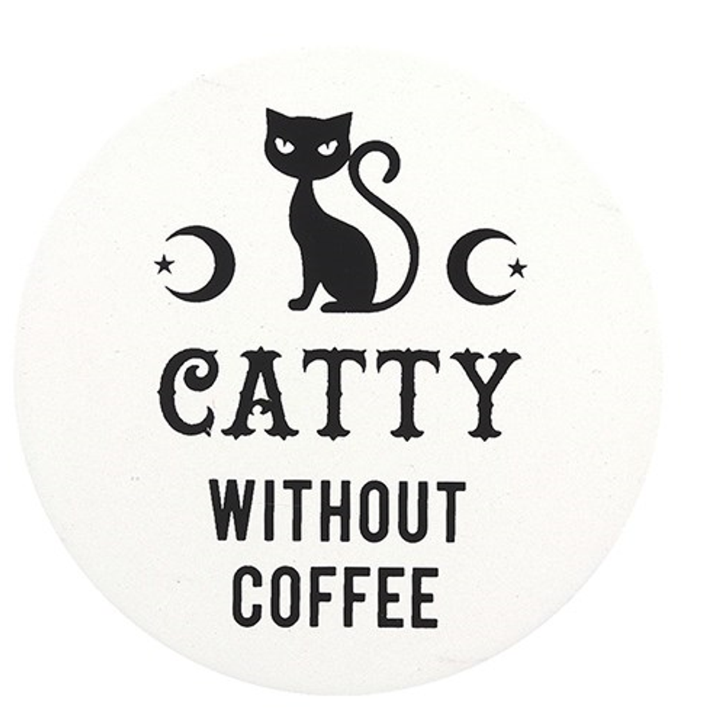 Black and White Ceramic Coaster - Catty Without Coffee