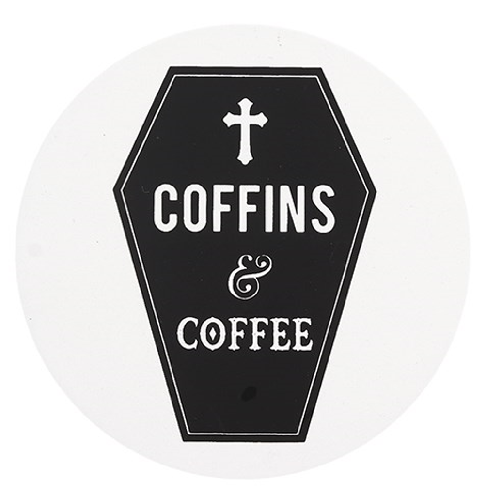 Black and White Ceramic Coaster - Coffins and Coffee