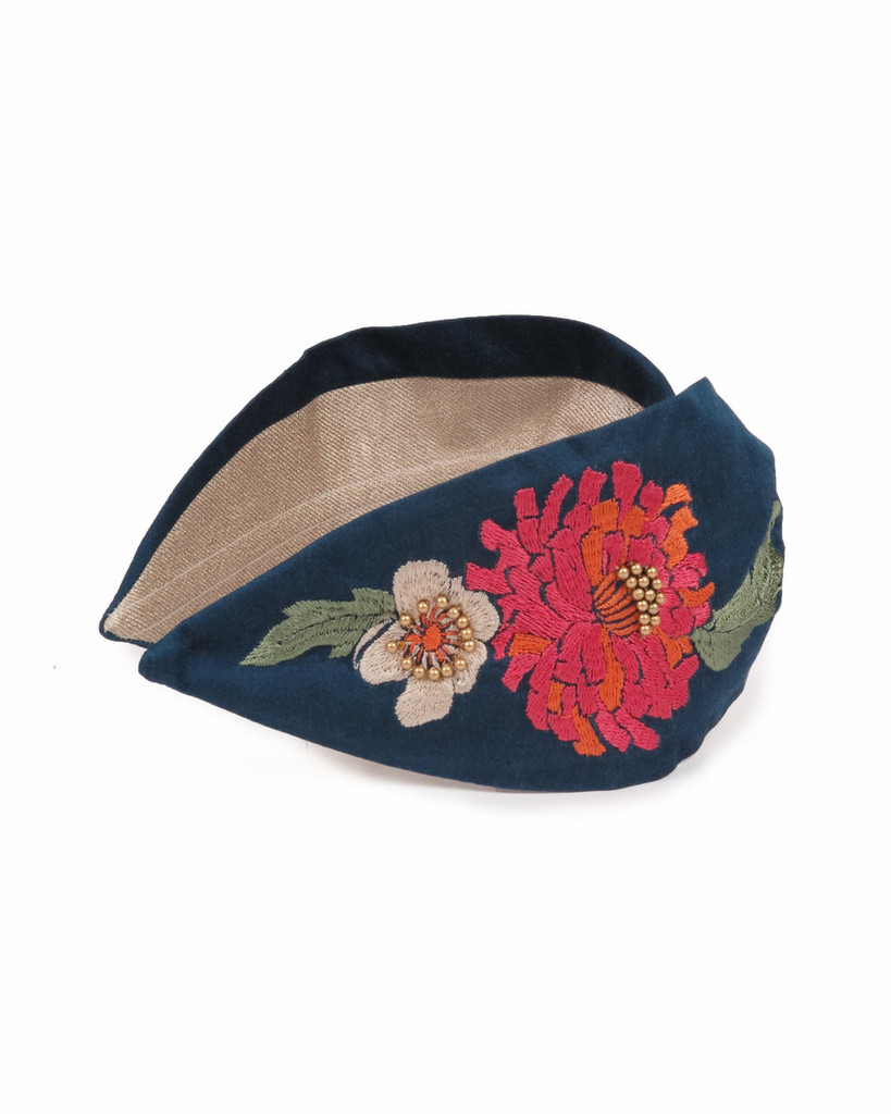 Hand Finished Embroidered Retro Meadow Teal Hairband by Powder