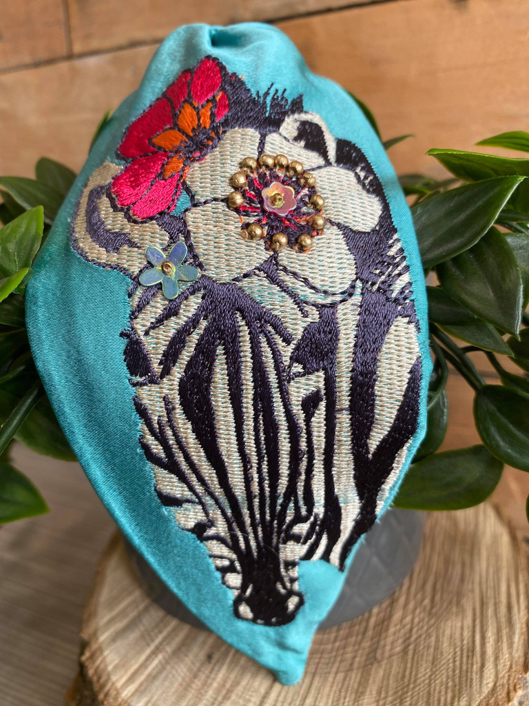Hand Finished Embroidered Mint Zebra Hairband by Powder