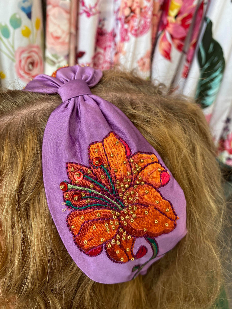 Hand Finished Embroidered Lilac and Orange Lily Hairband by Powder