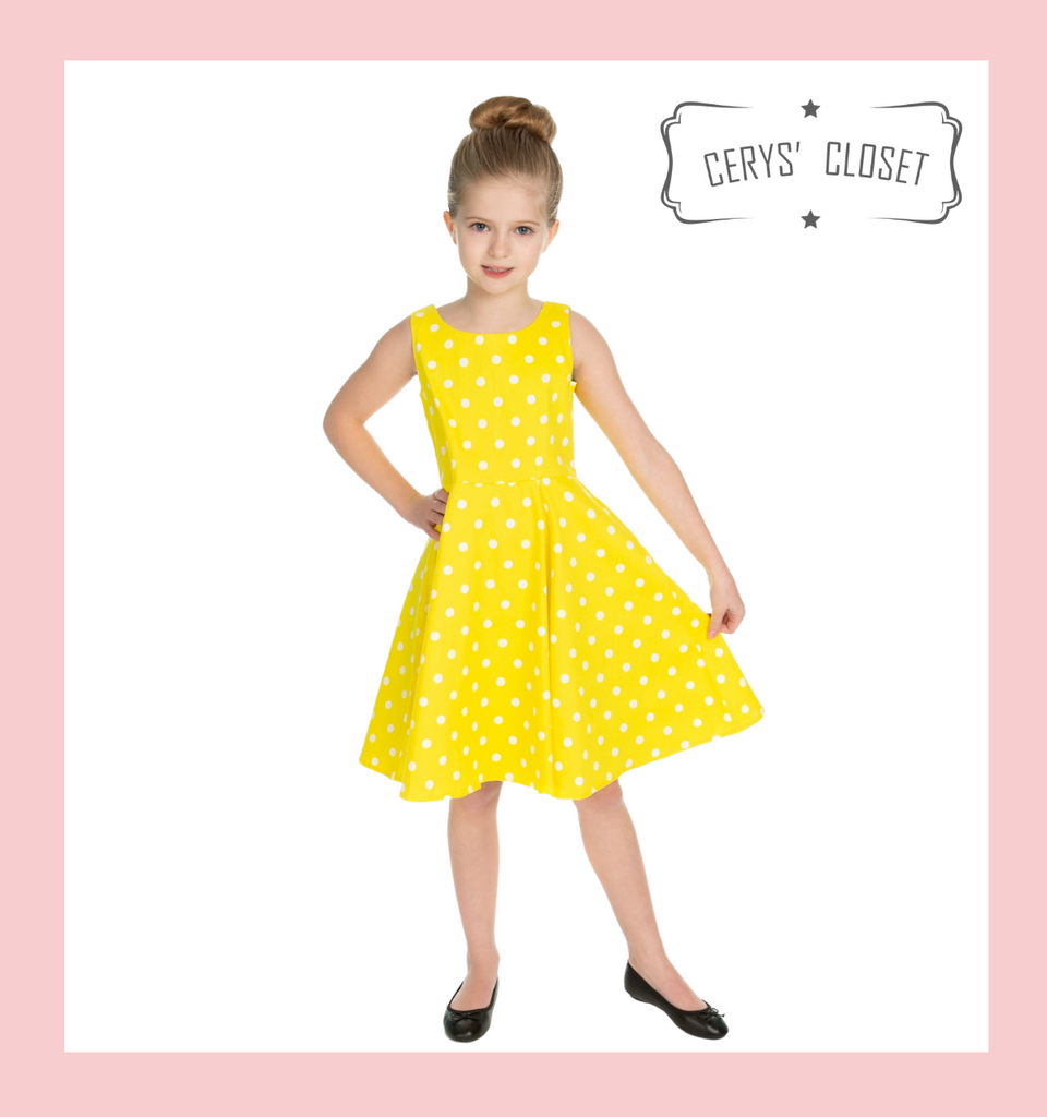 Hearts and Roses London 50S VINTAGE INSPIRED SUNSHINE YELLOW AND WHITE POLKA DOT AUDREY NECKLINE SLEEVELESS SWING DRESS KIDS at Cerys' Closet