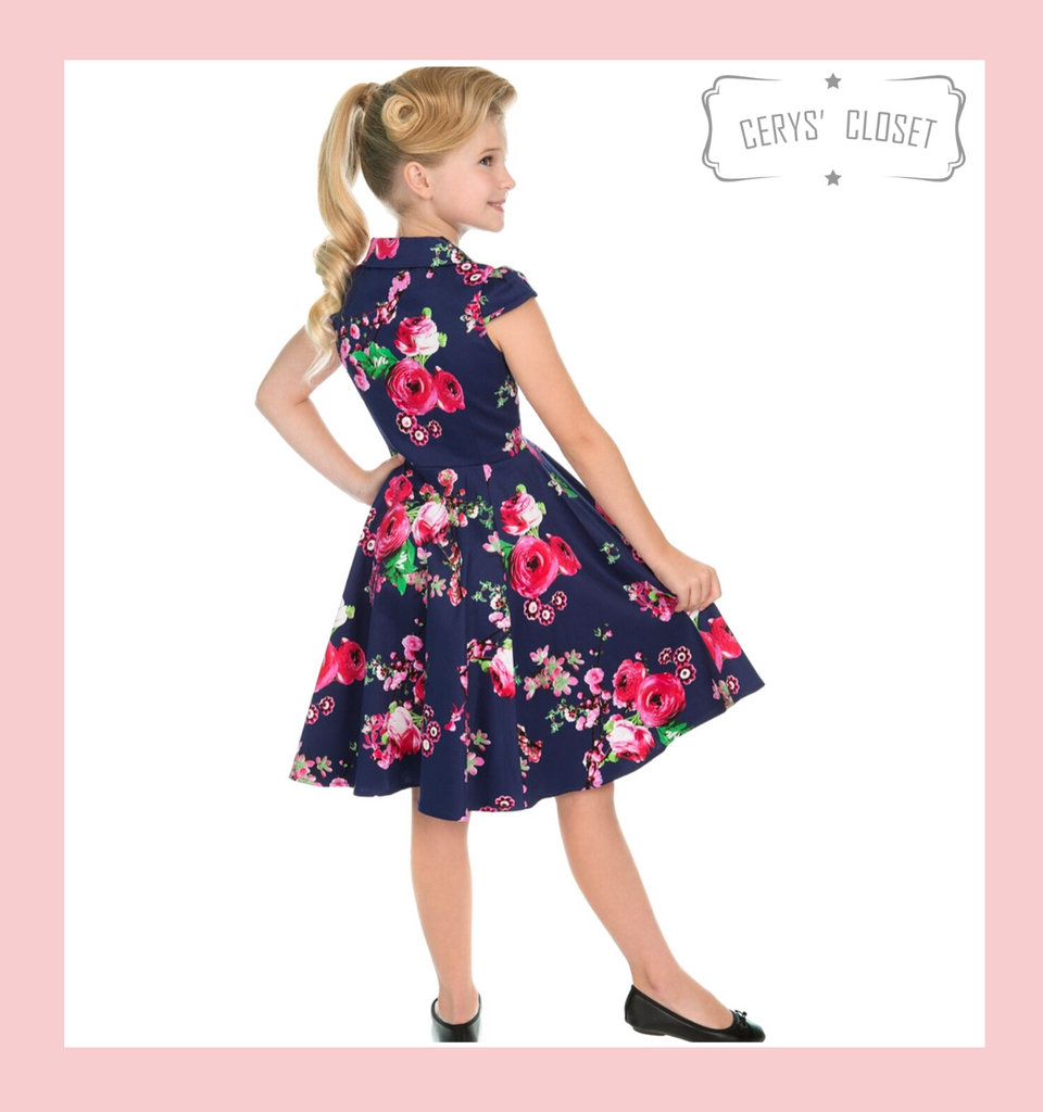 Hearts and roses london DARK PURPLE AND PINK FLORAL 50S CHILDRENS VINTAGE INSPIRED STYLE FAUX SHIRT TEA DRESS - MIDNIGHT at Cerys' Closet