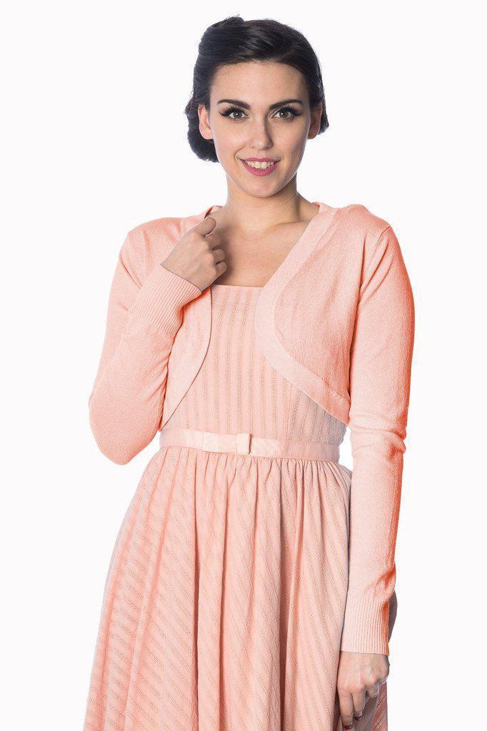 Banned Apparel Flickers 50s Vintage Inspired Long Sleeve Soft Touch Bolero - Peach