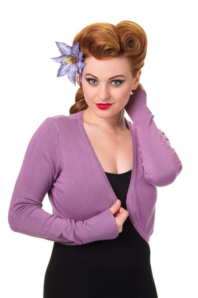Banned Apparel Flickers 50s Vintage Inspired Long Sleeve Soft Touch Bolero - Lilac
