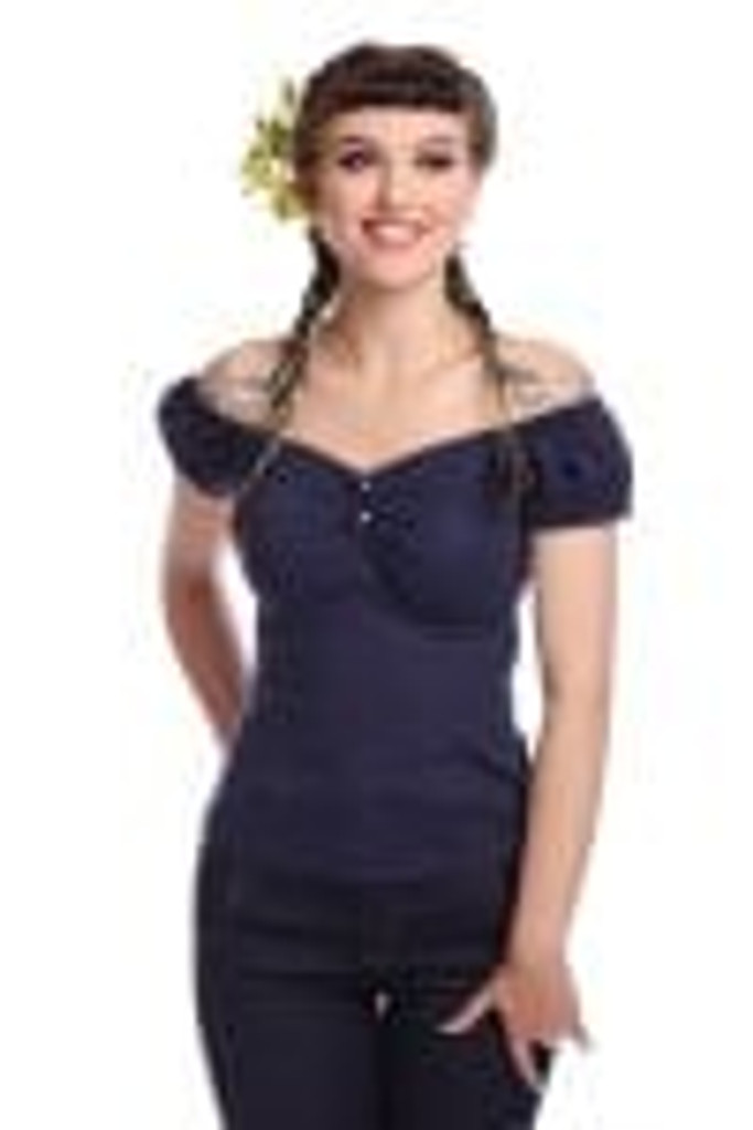 SALE - Collectif Dolores Doll Top Navy SIZE 16 / XL ONLY