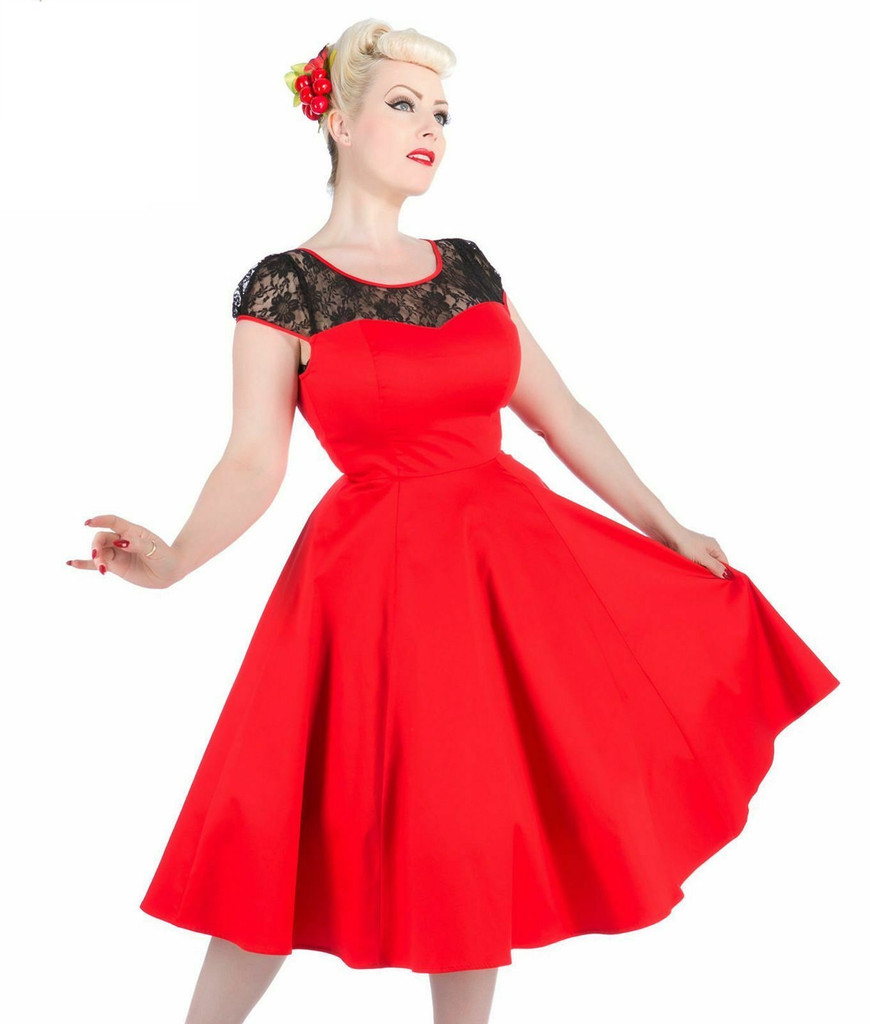 SALE Red Dress with Black lace Trim 50 s Vintage Style Dress SIZE 10 ONLY