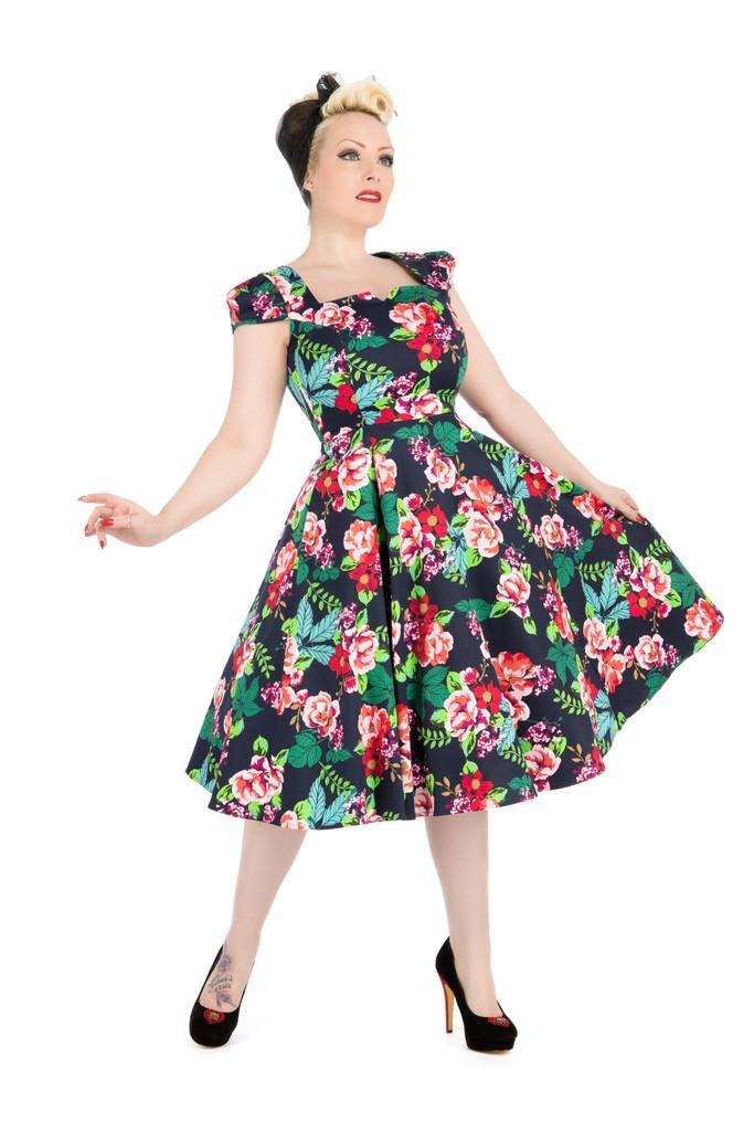 SALE Navy Floral Square Neck Cap Sleeve 50 s Vintage Style Dress - Flora SIZE 8 ONLY