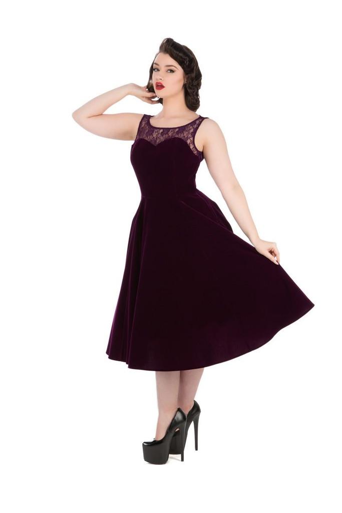 SALE Purple Velvet and Lace Sleeveless 50 s Vintage Style Dress - Romance SIZE 8 ONLY