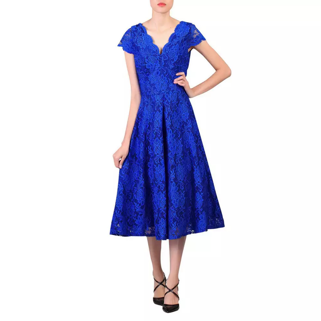 SALE Jolie Moi Electric Blue Lace 50s Vintage Inspired Dress - SIZE 10 ONLY