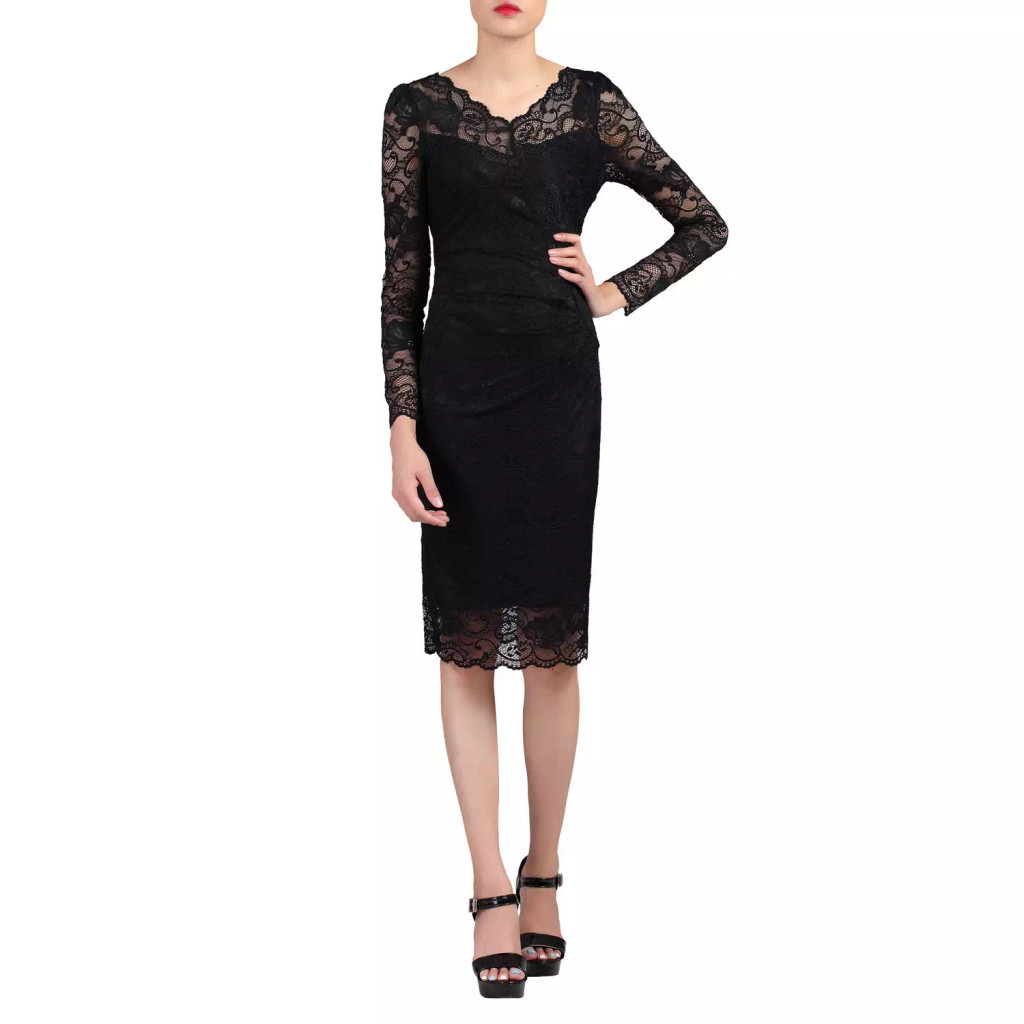 SALE Jolie Moi Black Lace 50s Vintage Inspired  Wiggle Dress - SIZE 10 ONLY