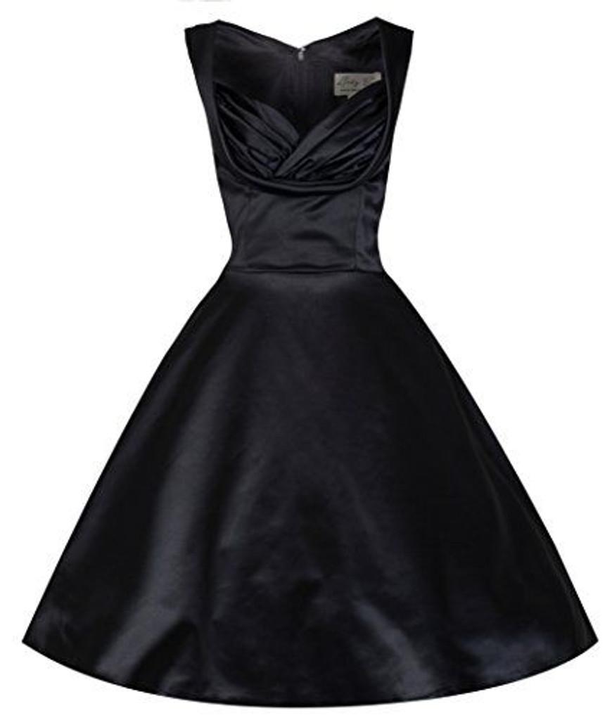 SALE Lindybop Black Satin Ophelia 50s Inspired Vintage Dress SIZE 8 ONLY