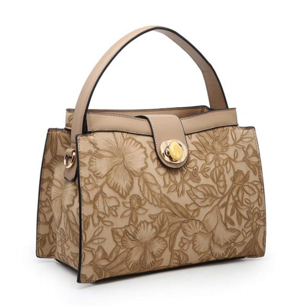 Floral Embossed Handbag - Apricot