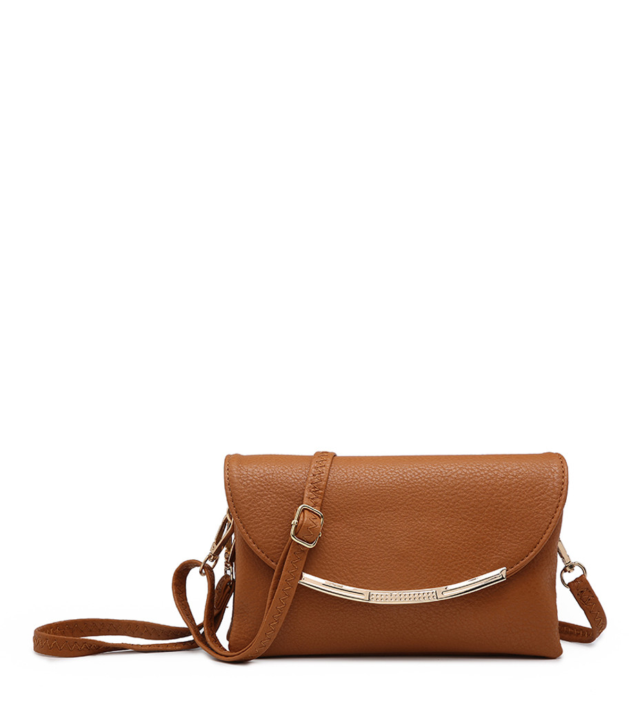 Cross Body Bag with Detachable Wrist Strap and Shoulder Strap - Brown