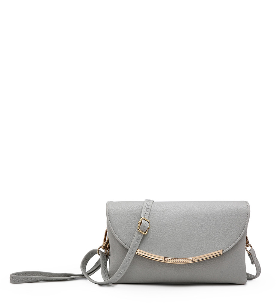 Cross Body Bag with Detachable Wrist Strap and Shoulder Strap - Grey