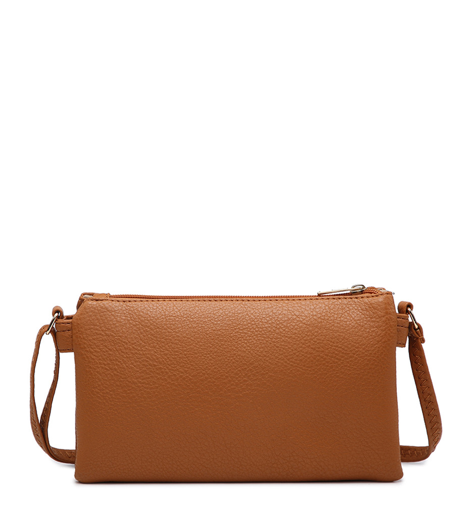 Double Compartment Cross Body Bag with Zip Top and Shoulder Strap - Beige