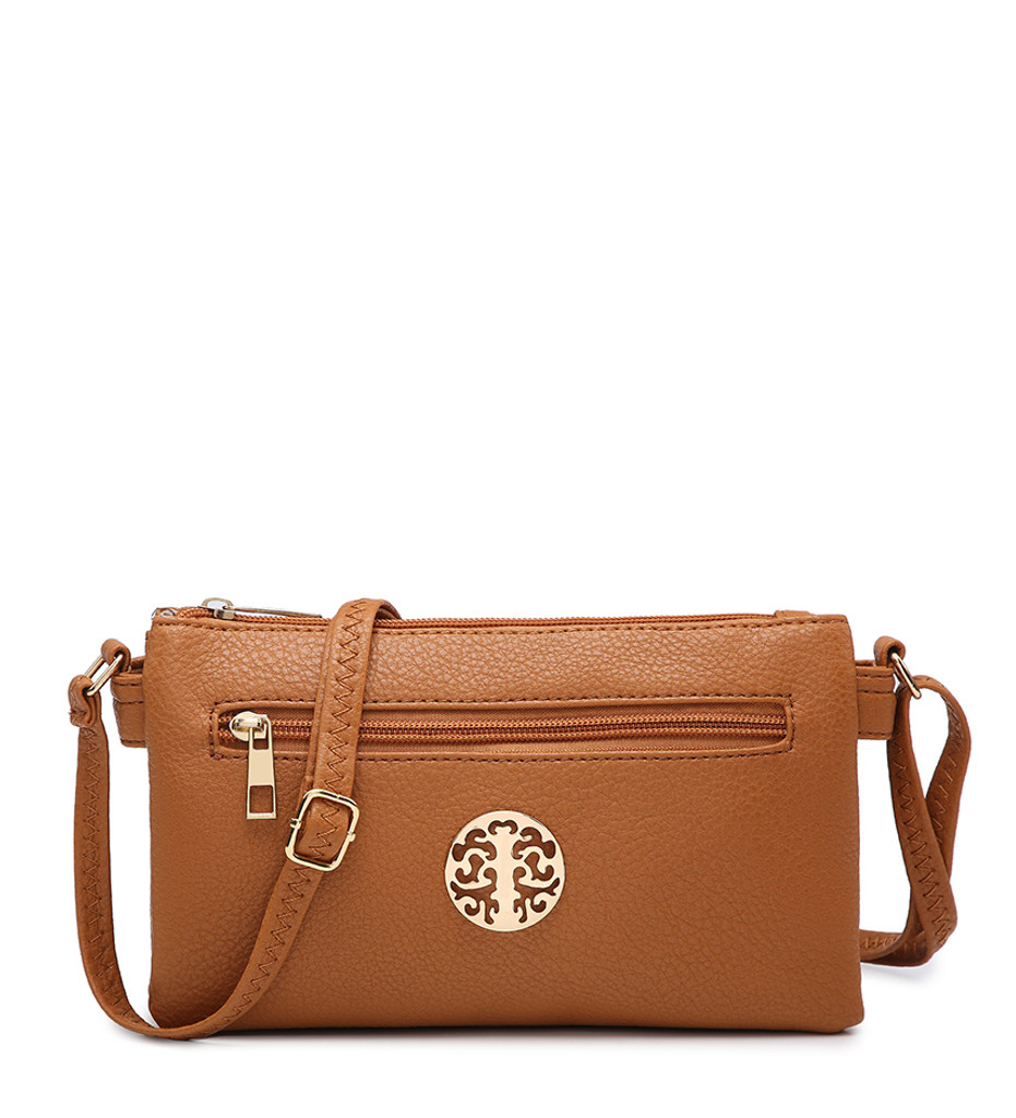 Double Compartment Cross Body Bag with Zip Top and Shoulder Strap - Brown