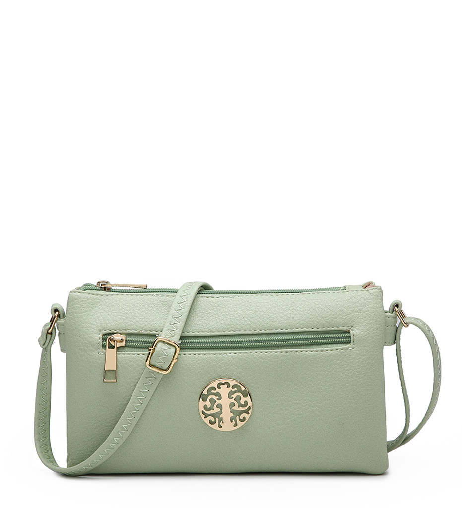 Double Compartment Cross Body Bag with Zip Top and Shoulder Strap - Green