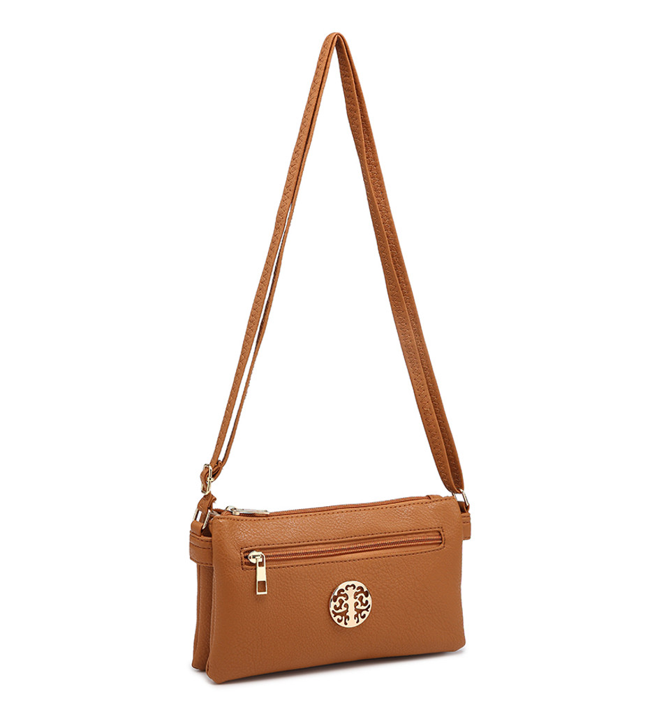 Double Compartment Cross Body Bag with Zip Top and Shoulder Strap - Grey