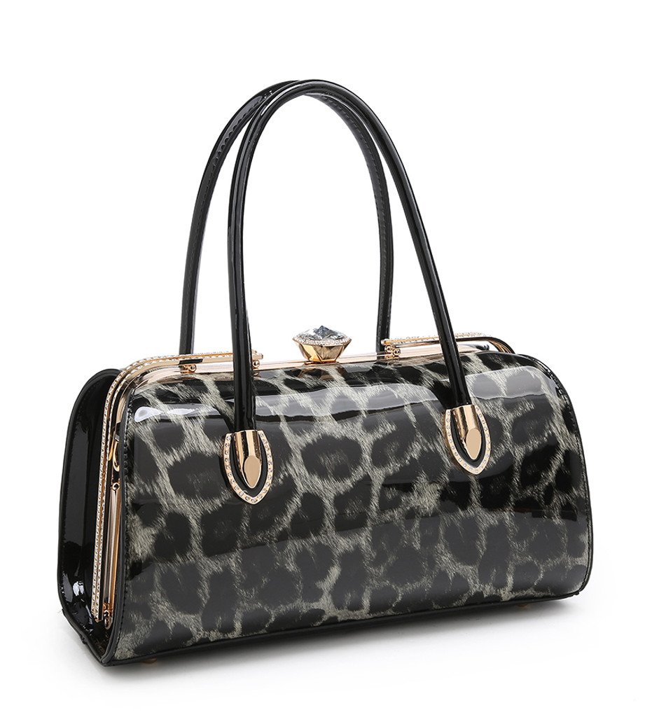 Double Handle Patent Leopard Print Handbag with Detachable Shoulder Strap - Grey