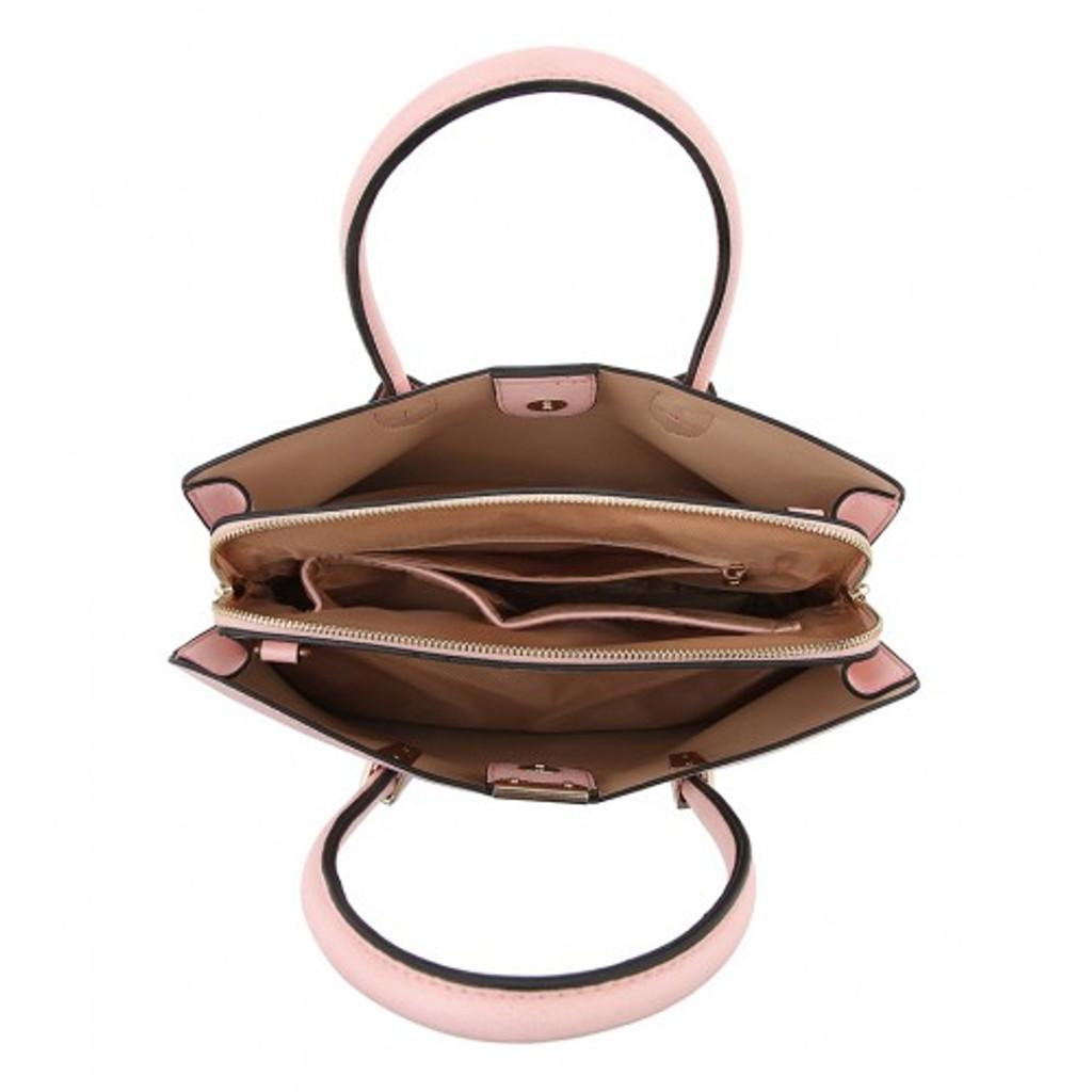 Double Handle Soft Touch Handbag with Detachable Shoulder Strap - White