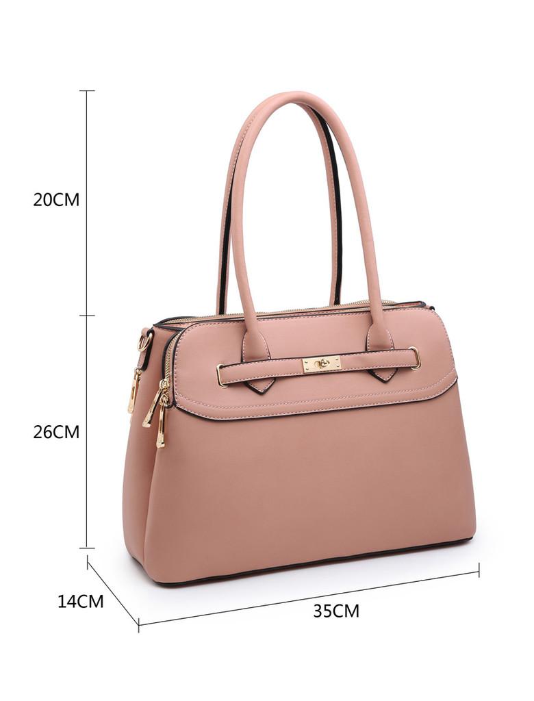 Multi Compartment Handbag with Detachable Shoulder Straps - Blue