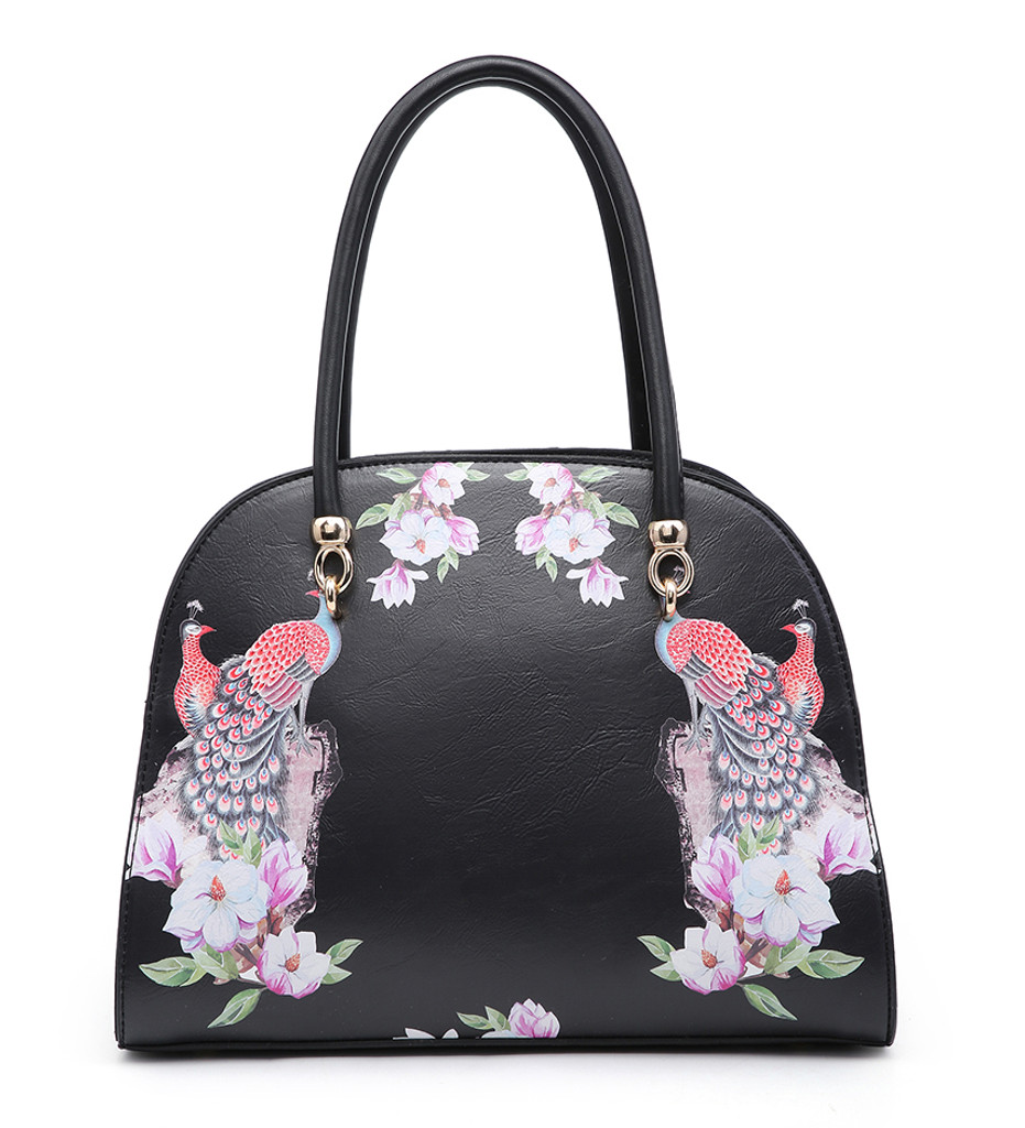 Double Handled Peacock and Floral Embellished Vintage Style Tote Bag with Detachable Shoulder Strap - Black