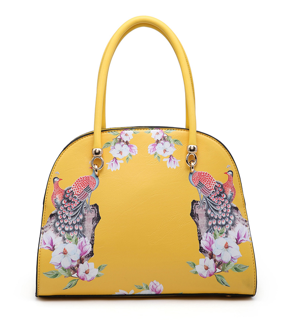 Double Handled Peacock and Floral Embellished Vintage Style Tote Bag with Detachable Shoulder Strap - Yellow