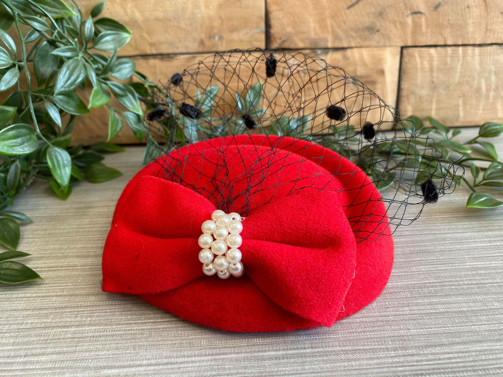 Vintage Style Pill Box Hat Fascinator with Pearl Bow and Black Polka Dot Veil - Red