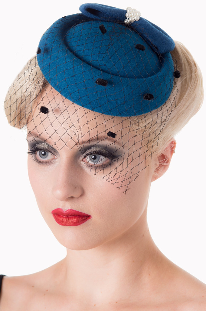 Vintage Style Pill Box Hat Fascinator with Pearl Bow and Black Polka Dot Veil - Teal