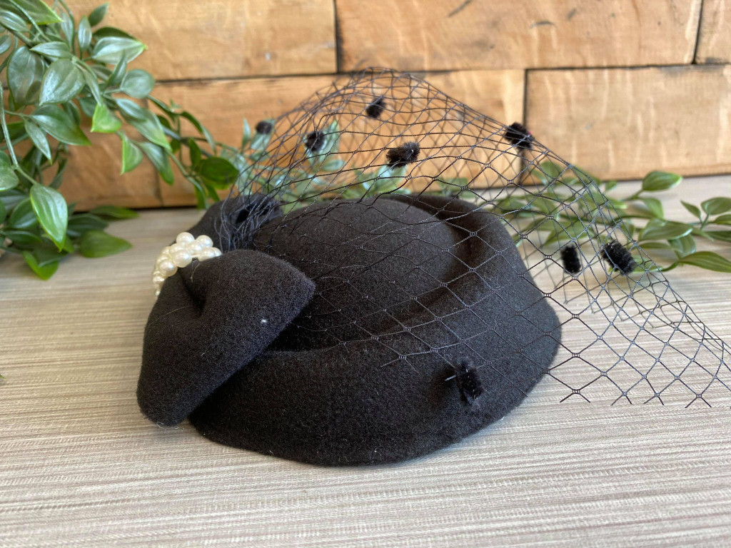 Vintage Style Pill Box Hat Fascinator with Pearl Bow and Black Polka Dot Veil - Black