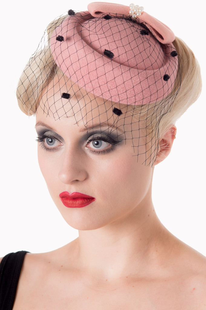 Vintage Style Pill Box Hat Fascinator with Pearl Bow and Black Polka Dot Veil - Pink