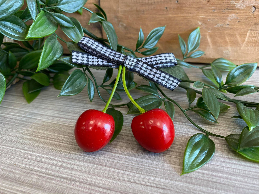 Rockabilly Style Hairclip with Red Cherries and Gingham Bow - Black and White