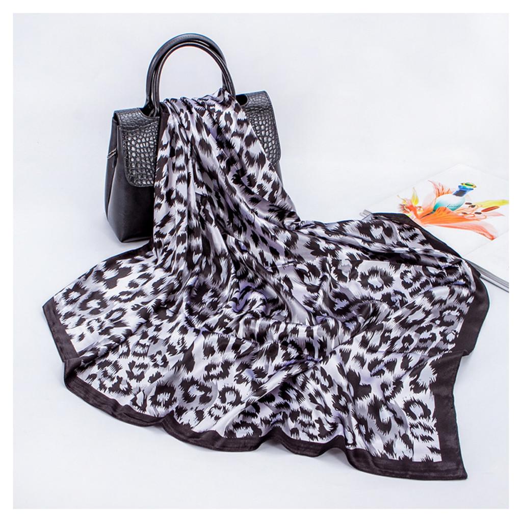 Leopard Print Satin Feel Vintage Style Scarf - Grey