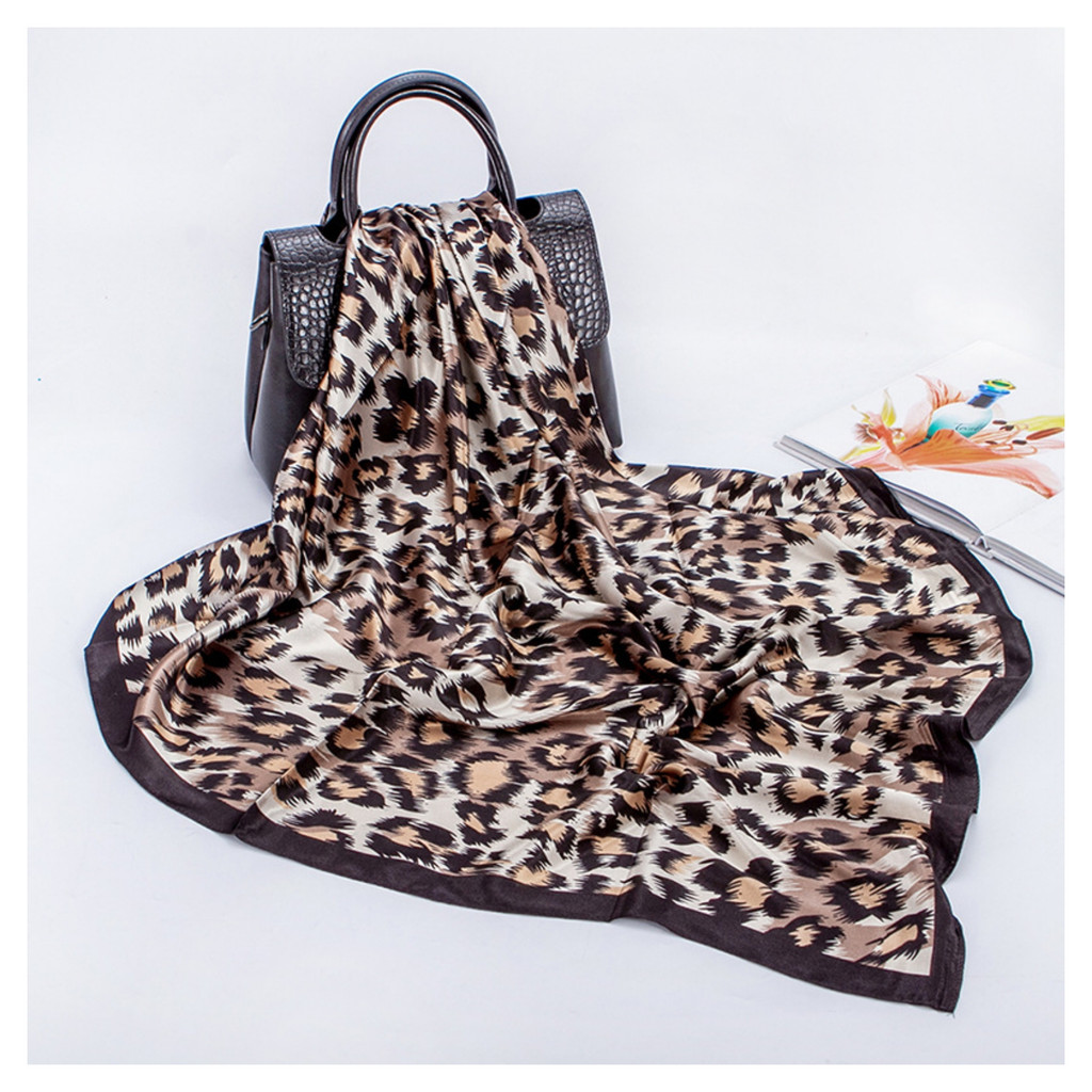 Leopard Print Satin Feel Vintage Style Scarf - Brown