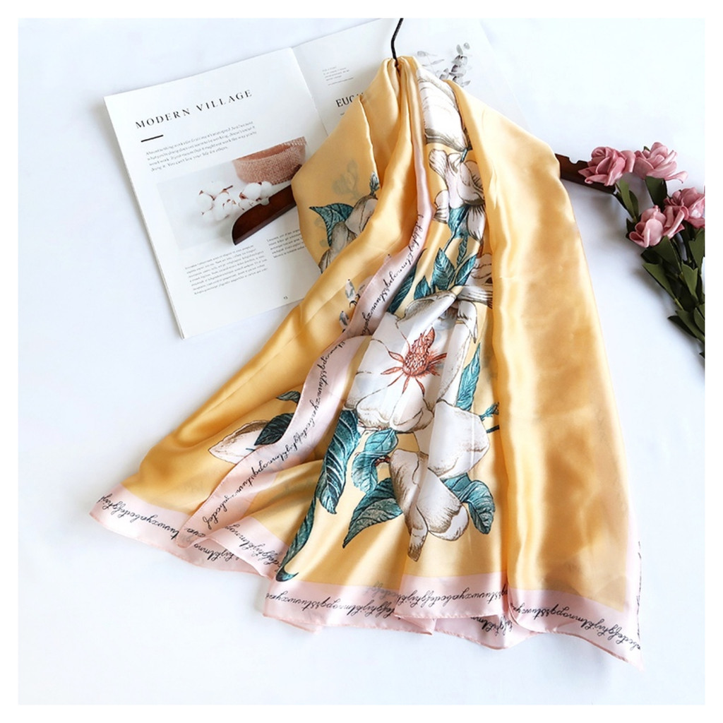 Pretty Floral Vintage Style Soft Touch Scarf - Yellow