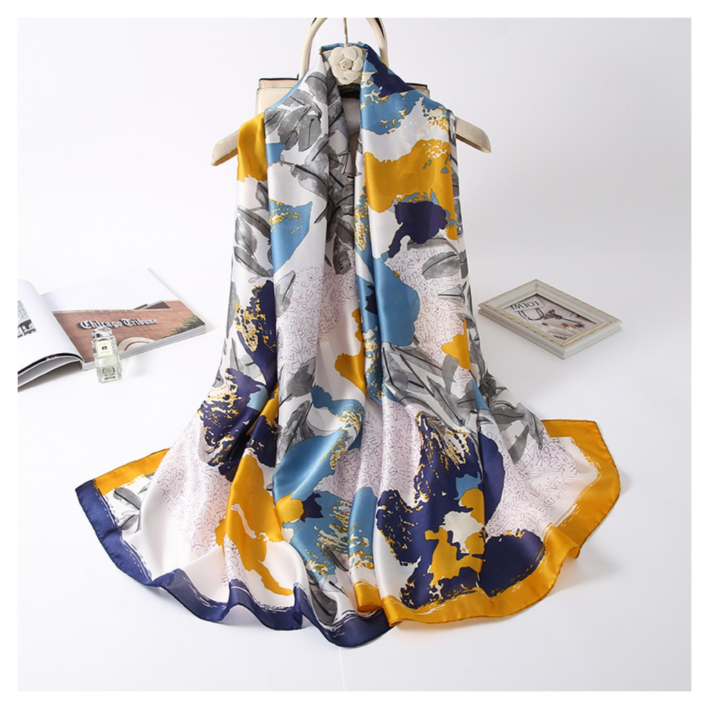 Floral Satin Feel Vintage Style Scarf - Yellow
