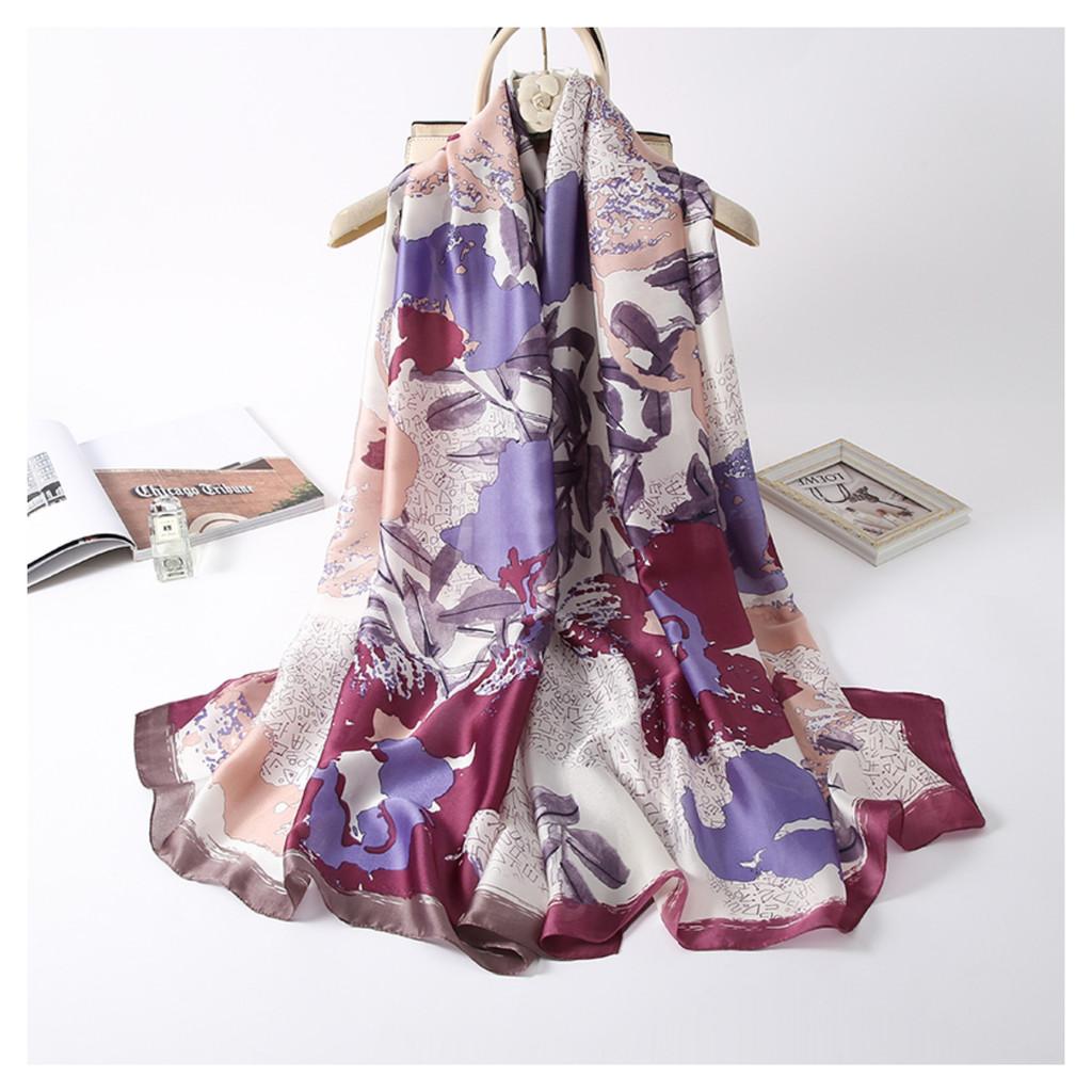 Floral Satin Feel Vintage Style Scarf - Purple
