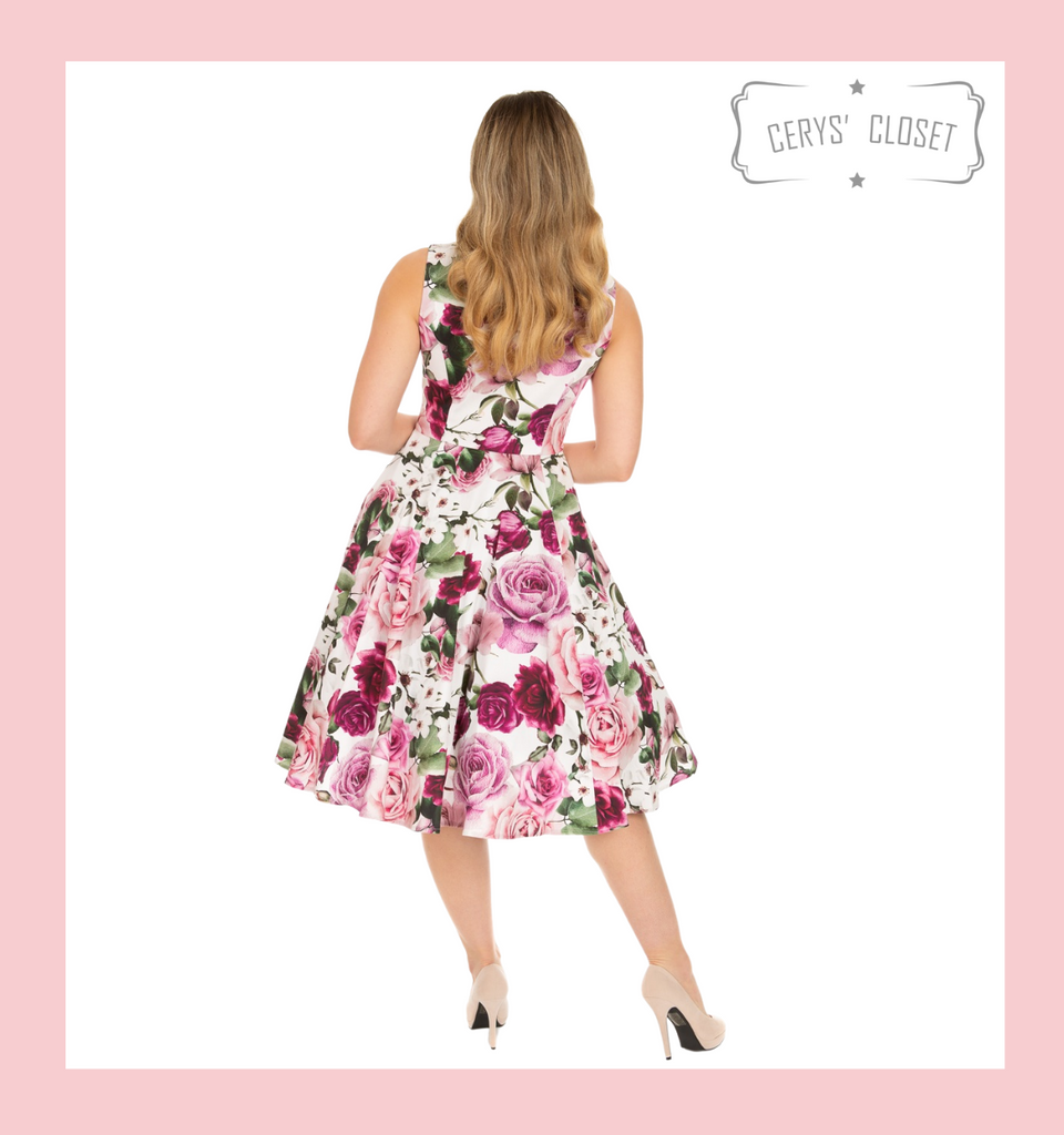 Hearts and Roses Pink and Cream Floral 50s Inspired Vintage Swing Dress with Classic Audrey Neckline - Alice