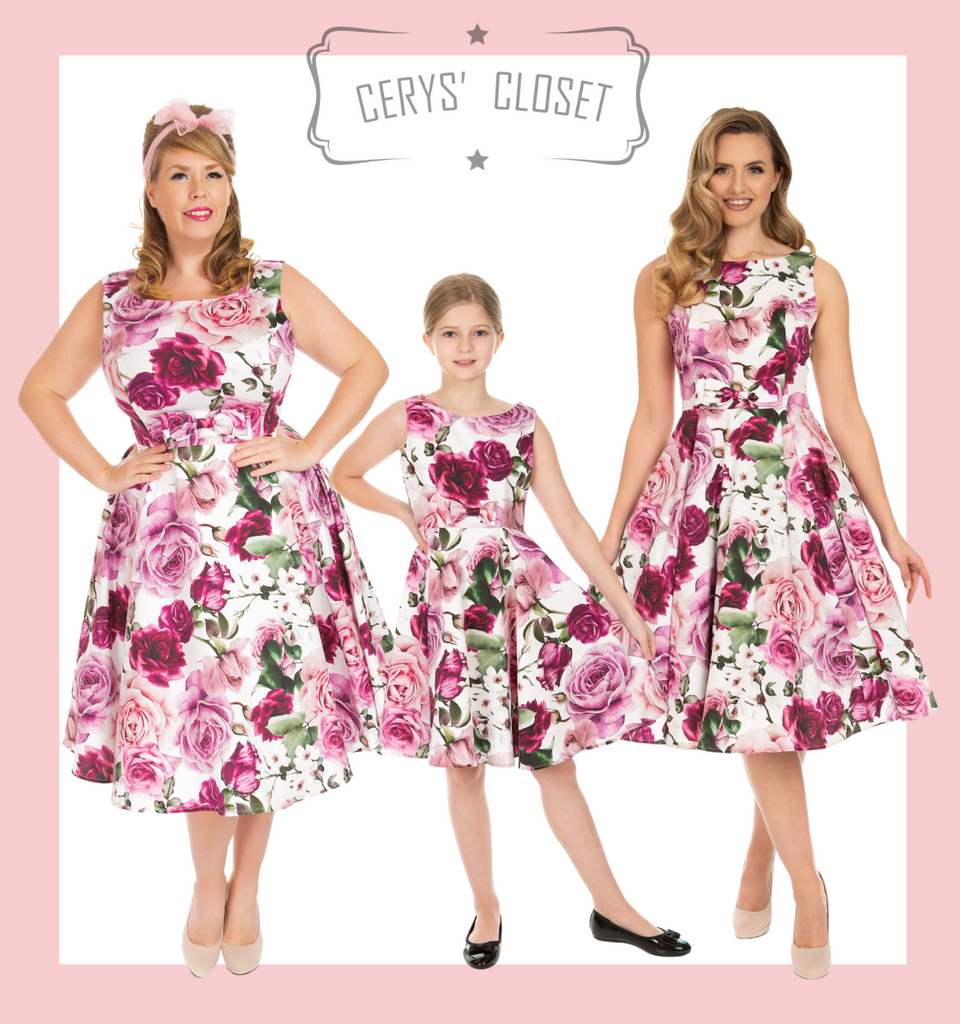 PINK AND CREAM FLORAL 50S INSPIRED VINTAGE SWING DRESS WITH CLASSIC AUDREY NECKLINE - ALICE Kids