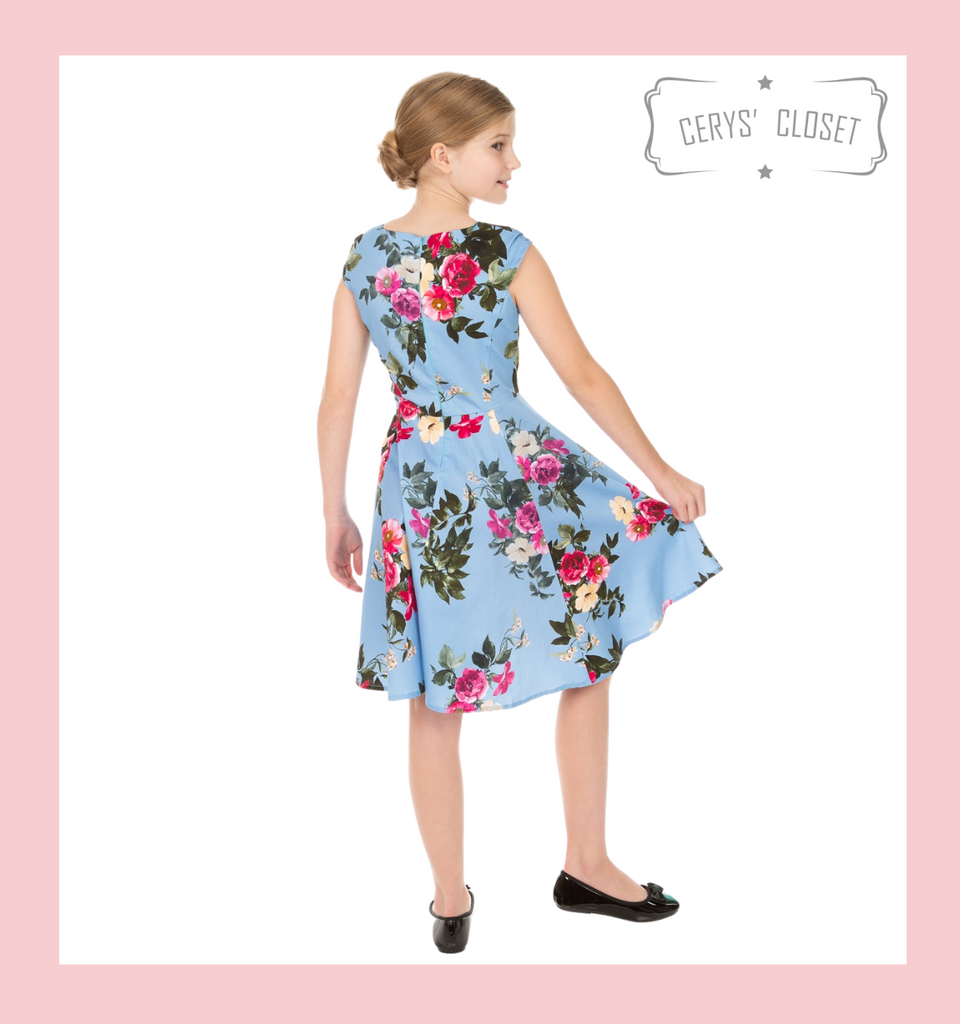 BLUE PINK AND CREAM FLORAL 50S INSPIRED CHILDRENS SWING DRESS WITH CAP SLEEVES AND SWEETHEART NECKLINE - JOLENE