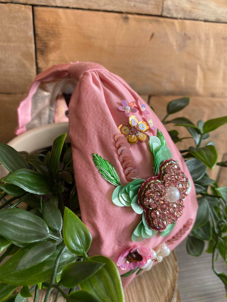 Hand Finished Embroidered Pink Floral Hairband by Powder