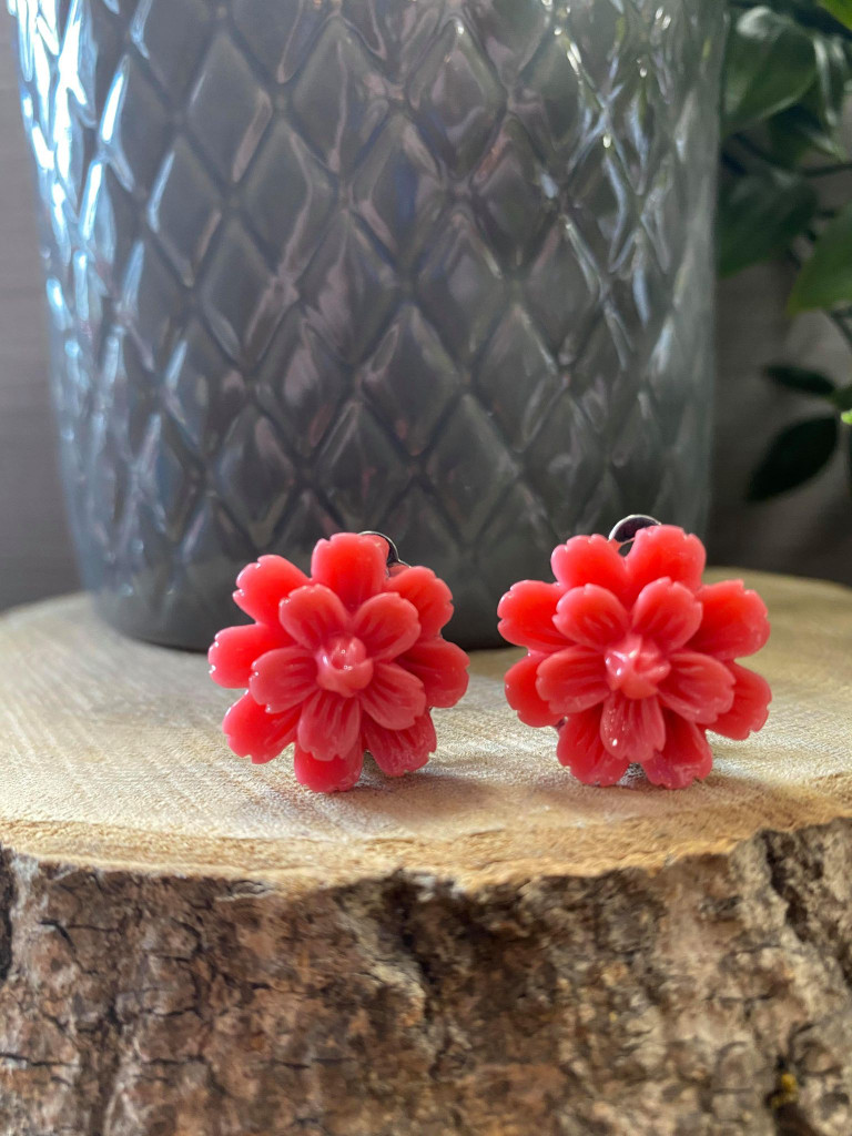 Handmade Resin Flower Earrings with Stainless Steel Clip On Back - Hot Pink