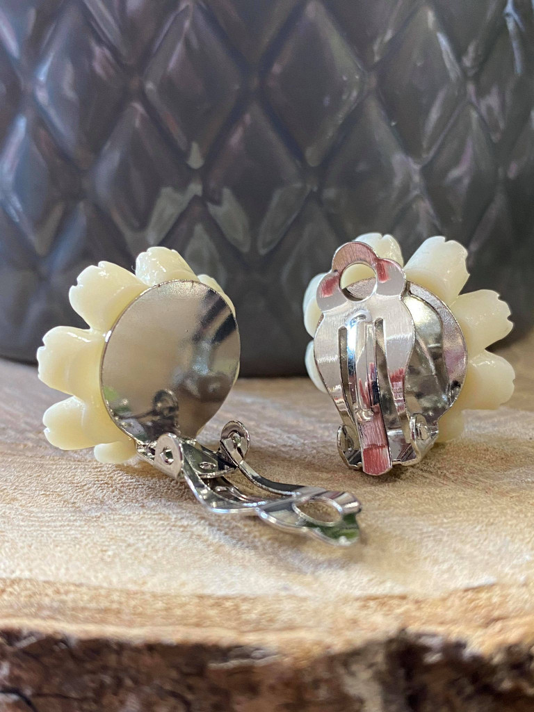 Handmade By Sue Resin Flower Earrings with Stainless Steel Clip On Back - Peach