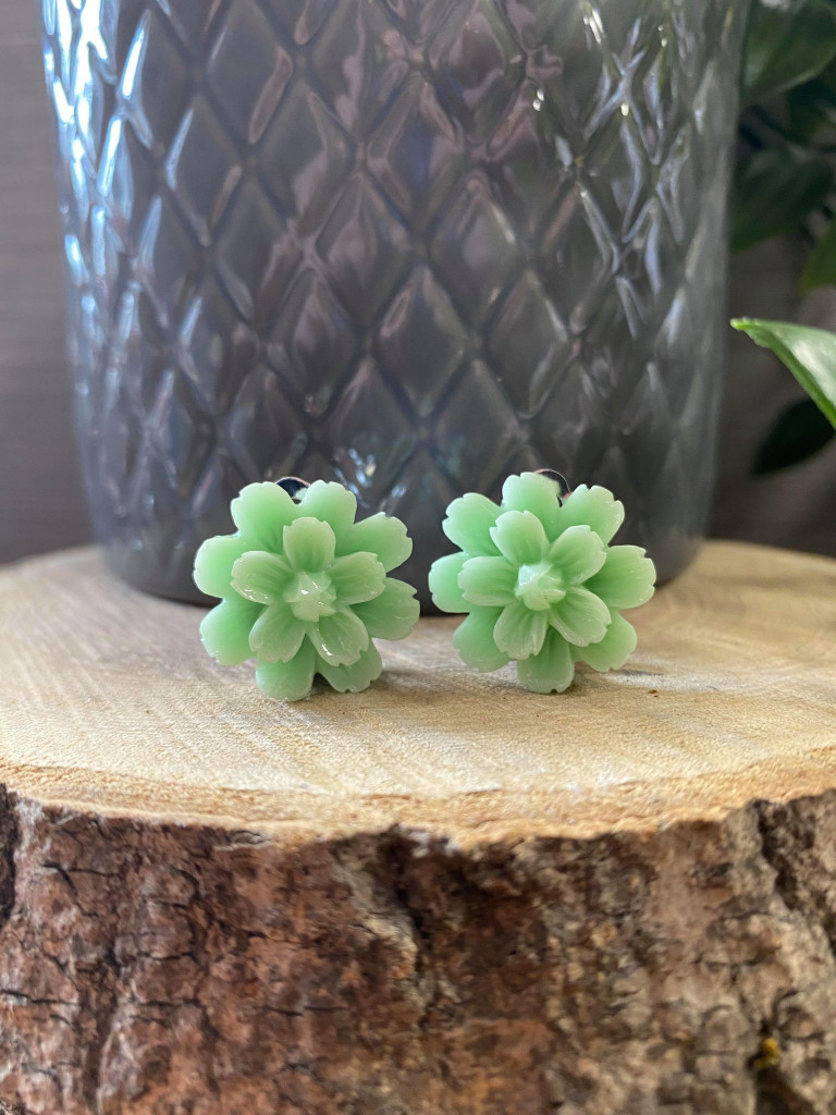 Handmade Resin Flower Earrings with Stainless Steel Clip On Back - Mint